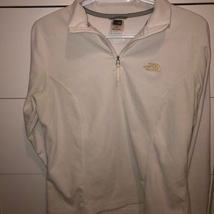 White north face fuzzy sweater